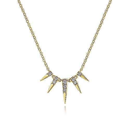 14k Yellow Gold Trends Fashion Necklace angle 1