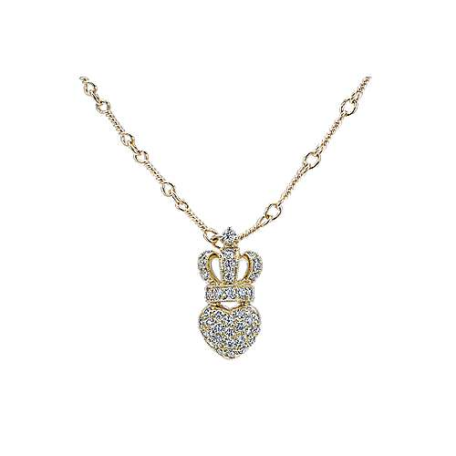 14k Yellow Gold Trends Heart Necklace angle 1