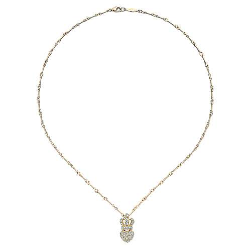 14k Yellow Gold Trends Heart Necklace angle 2