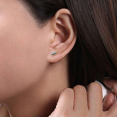 14k Yellow Gold Trends Stud Earrings angle 2