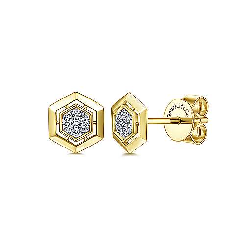 14k Yellow Gold Trends Stud Earrings