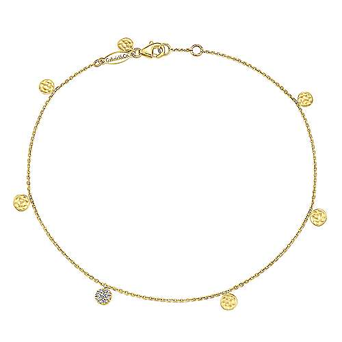 Gabriel - 14k Yellow Gold Trends Tennis Ankle Bracelet