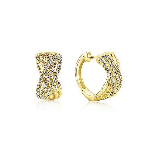 14k Yellow Gold Twisted Criss Cross Diamond Huggie Earrings