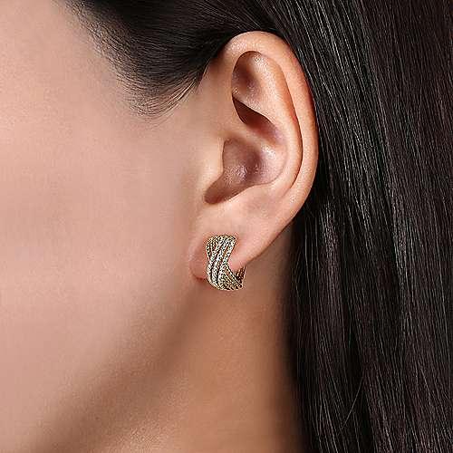 14k Yellow Gold Twisted Criss Cross Diamond Huggie Earrings angle 2