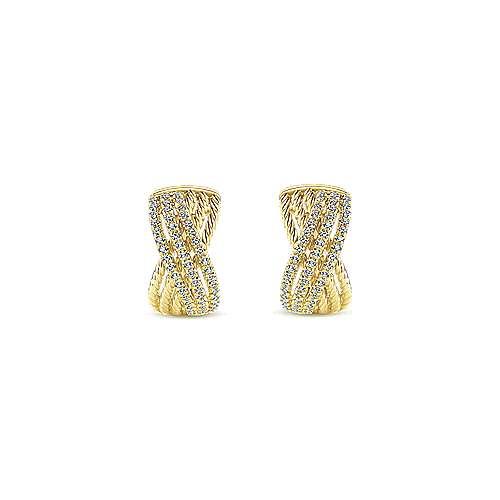 14k Yellow Gold Twisted Criss Cross Diamond Huggie Earrings angle 3
