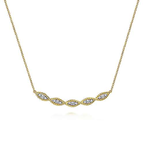 Gabriel - 14k Yellow Gold Twisted Curved Diamond Bar Necklace