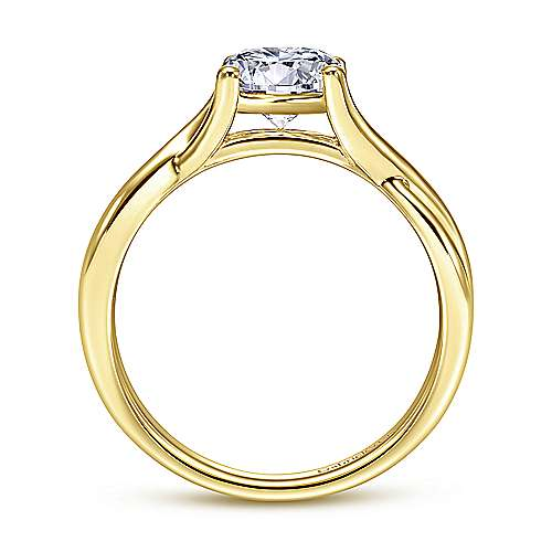 14k Yellow Gold Twisted Engagement Ring angle 2