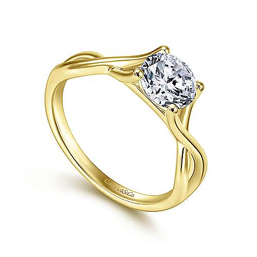 14k Yellow Gold Twisted Engagement Ring angle 3