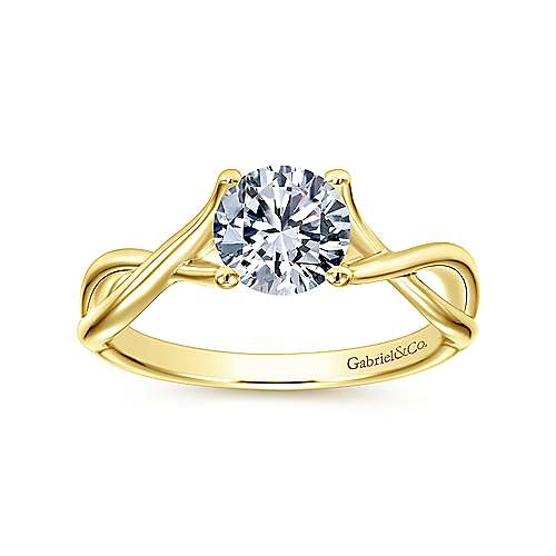 14k Yellow Gold Twisted Engagement Ring angle 5