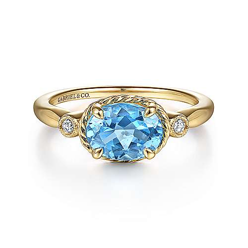 Gabriel - 14k Yellow Gold Twisted Oval Swiss Blue Topaz & Diamond Fashion Ring