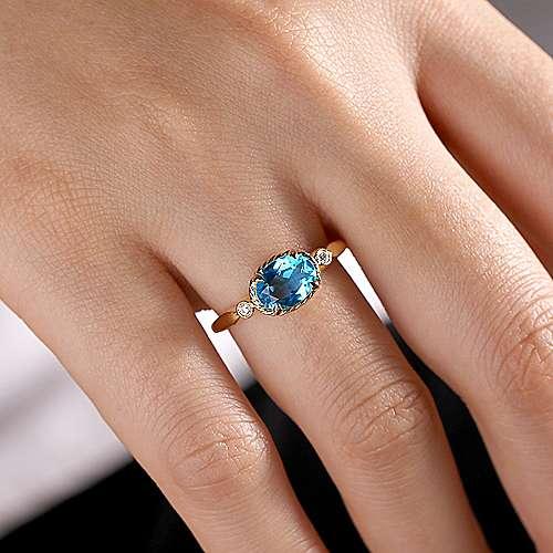 14k Yellow Gold Twisted Oval Swiss Blue Topaz & Diamond Fashion Ring