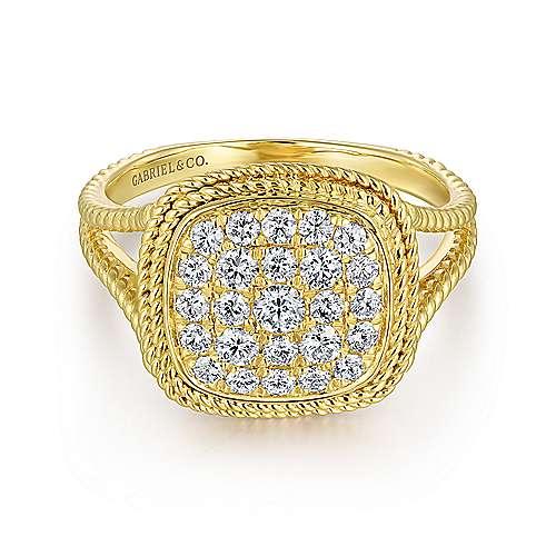 14k Yellow Gold Twisted Pave Diamond Fashion Ring