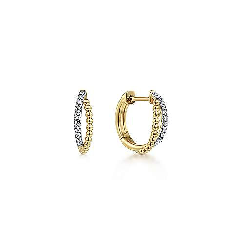 14k Yellow Gold Twisted Pave Diamond Huggie Earrings
