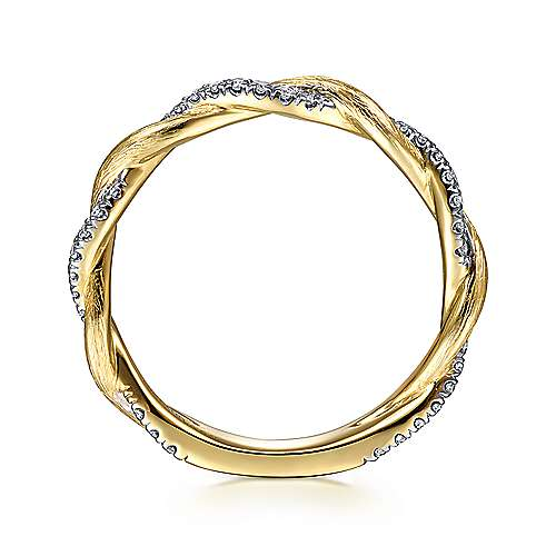 14k Yellow Gold Twisted Pave Diamond Stackable Ladies Ring angle 2