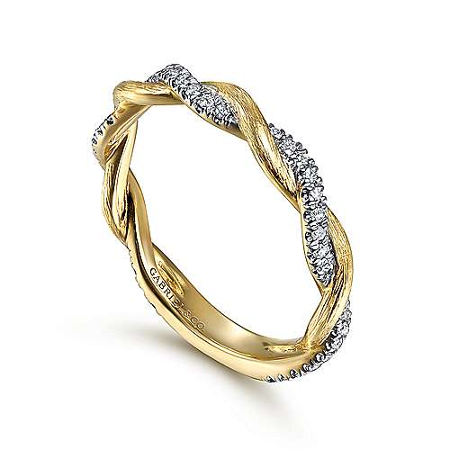 14k Yellow Gold Twisted Pave Diamond Stackable Ladies Ring angle 3