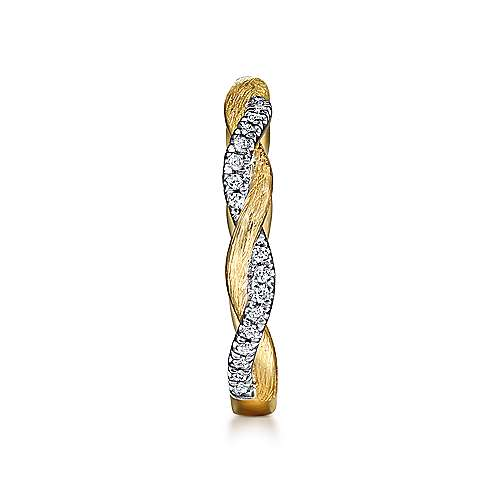14k Yellow Gold Twisted Pave Diamond Stackable Ladies Ring angle 4