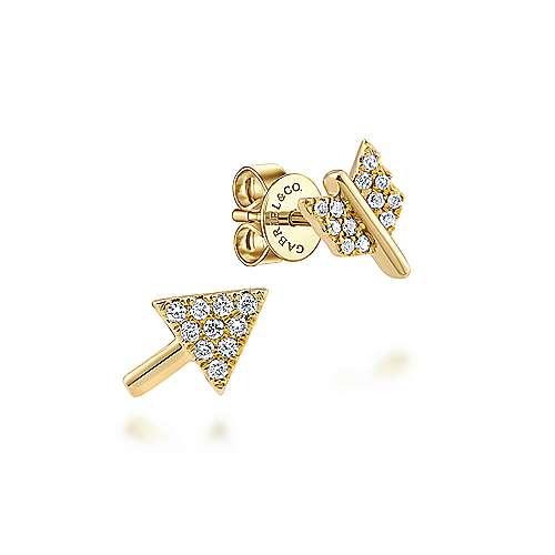 14k Yellow Gold Two Piece Arrow Diamond Stud Earrings