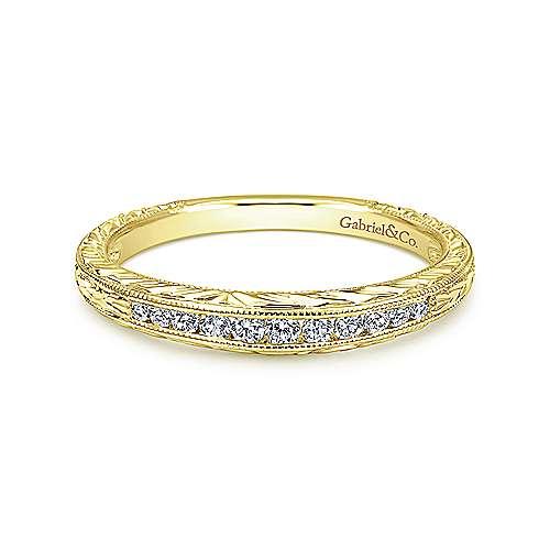 Gabriel - 14k Yellow Gold Victorian Curved Wedding Band