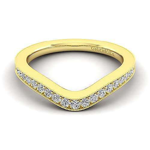 14k Yellow Gold Victorian Curved Wedding Band