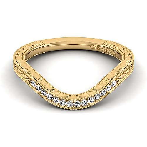 Gabriel - 14k Yellow Gold Victorian Curved Wedding Band