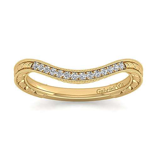 14k Yellow Gold Victorian Curved Wedding Band angle 5