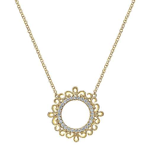 14k Yellow Gold Victorian Fashion Necklace