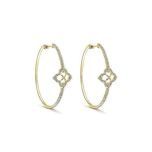 14k Yellow Gold Victorian Intricate Hoop Earrings angle 1