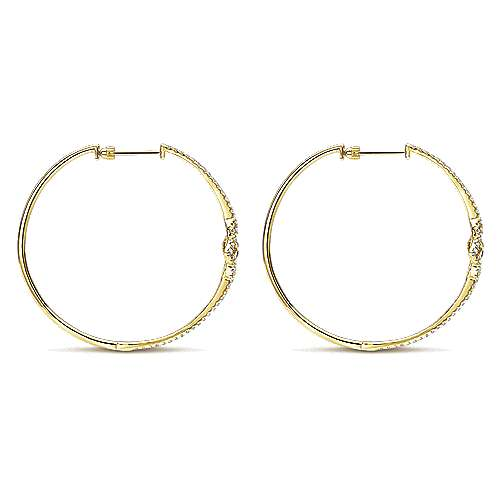 14k Yellow Gold Victorian Intricate Hoop Earrings angle 2