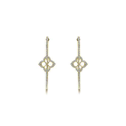 14k Yellow Gold Victorian Intricate Hoop Earrings angle 3