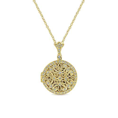 14k Yellow Gold Victorian Locket Necklace angle 1