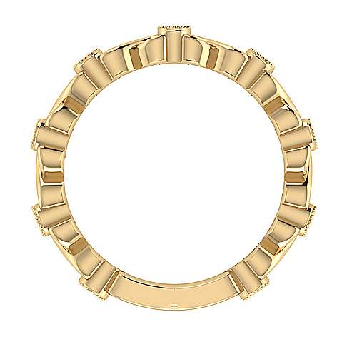 14k Yellow Gold Victorian Straight Wedding Band
