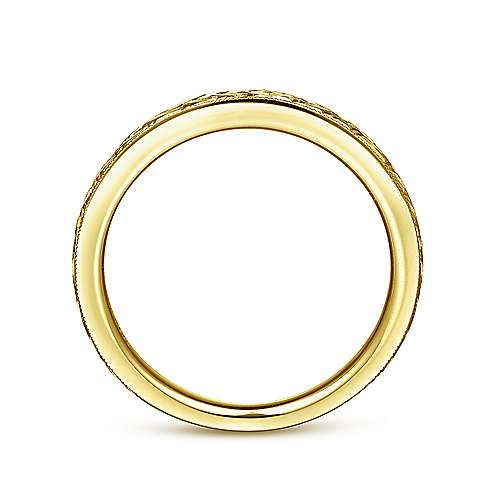 14k Yellow Gold Victorian Straight Wedding Band angle 2