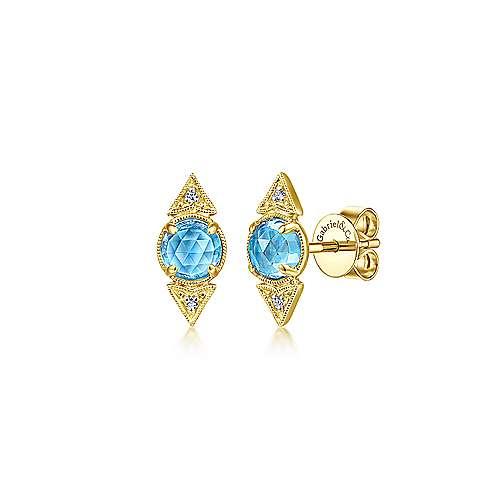 14k Yellow Gold Victorian Stud Earrings