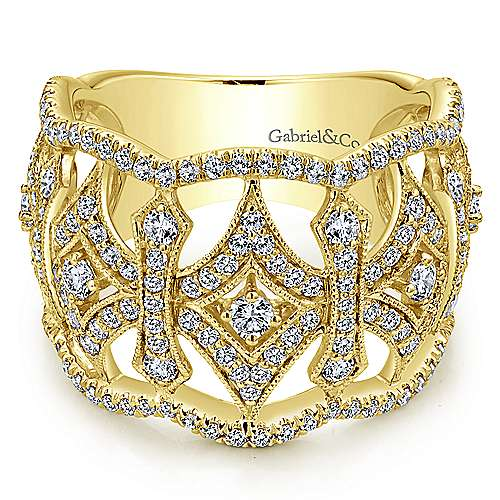 Gabriel - 14k Yellow Gold Victorian Wide Band Ladies' Ring