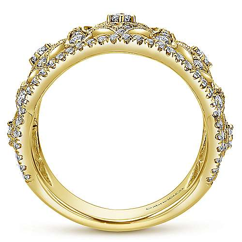14k Yellow Gold Victorian Wide Band Ladies' Ring angle 2