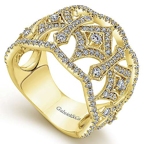 14k Yellow Gold Victorian Wide Band Ladies' Ring angle 3