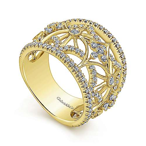 14k Yellow Gold Victorian Wide Band Ladies