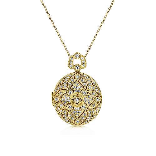 14k Yellow Gold Vintage Inspired Round Diamond Locket Necklace
