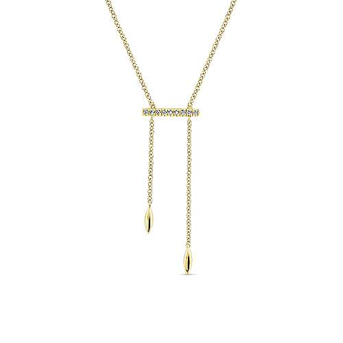 14k Yellow Gold Y Knot Pave Diamond Bar Necklace