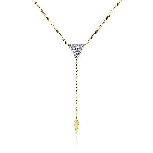 14k Yellow Gold Y Knots Fashion Necklace angle 1