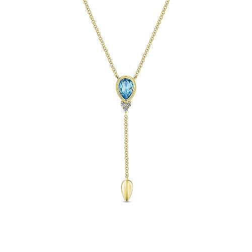 14k Yellow Gold Y Knots Necklace angle 1