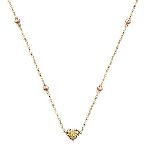 Gabriel - 14k Yellow/Rose Gold Diamond Heart Station Necklace