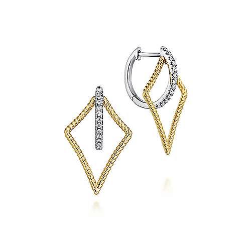 14k Yellow/White Gold 25mm Twisted Kite Diamond Huggie Earrings