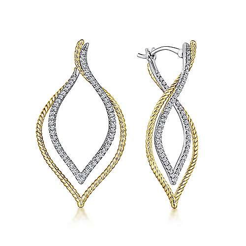 14k Yellow/White Gold 40mm Intricate Layered Diamond Hoop Earrings