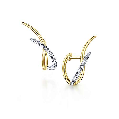 14k Yellow/White Gold Climbing Diamond Huggie Earrings angle 1