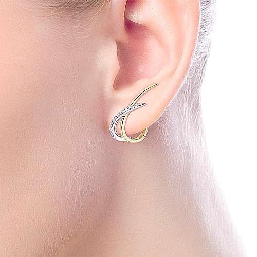 14k Yellow/White Gold Climbing Diamond Huggie Earrings angle 2