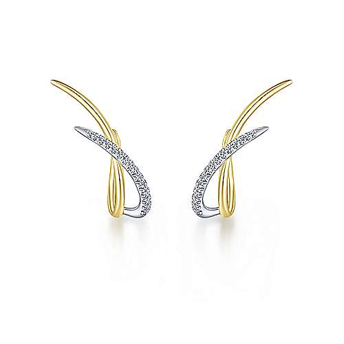 14k Yellow/White Gold Climbing Diamond Huggie Earrings angle 3