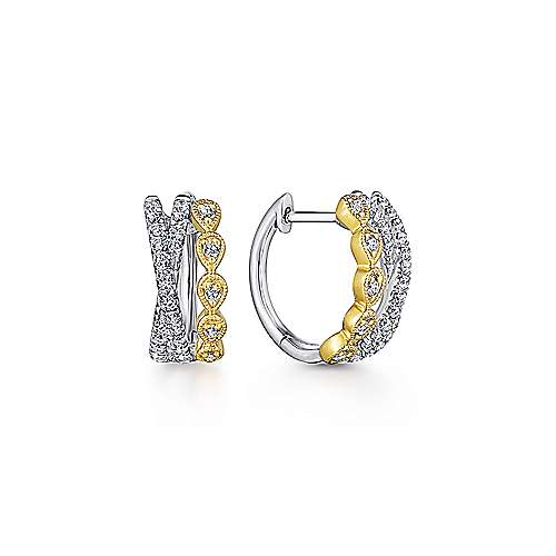 Gabriel - 14k Yellow/White Gold Criss Cross 10mm Diamond Huggie Earrings