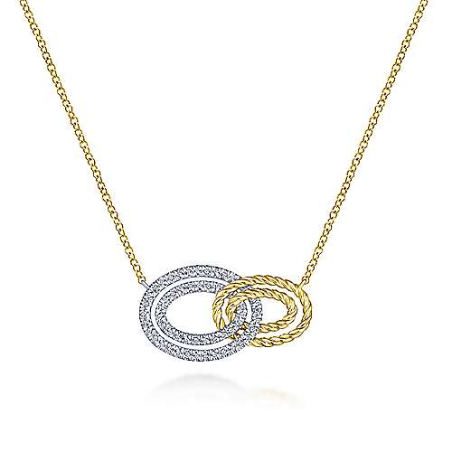 Gabriel - 14k Yellow/White Gold Interlocking Oval Diamond Fashion Necklace