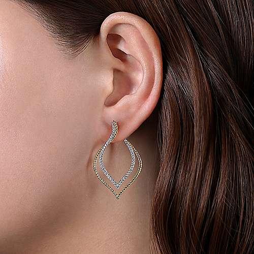 14k Yellow/White Gold Intricate Layered Diamond Hoop Earrings angle 2